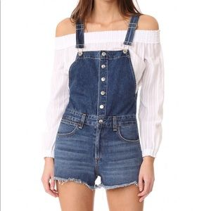 Rag & Bone/JEAN Lou denim short overalls.X…
